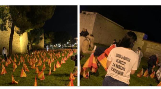 la Asociación de Víctimas del Coronavirus coloca 1.000 banderas en las Murallas DE ALCALÁ DE HENARES …  y el Ayuntamiento las retira